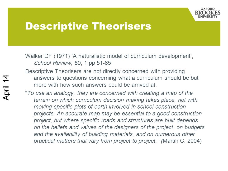 Descriptive Theorisers