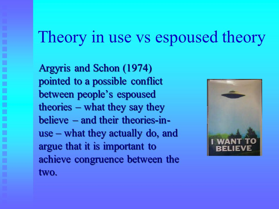 Theory in use vs espoused theory