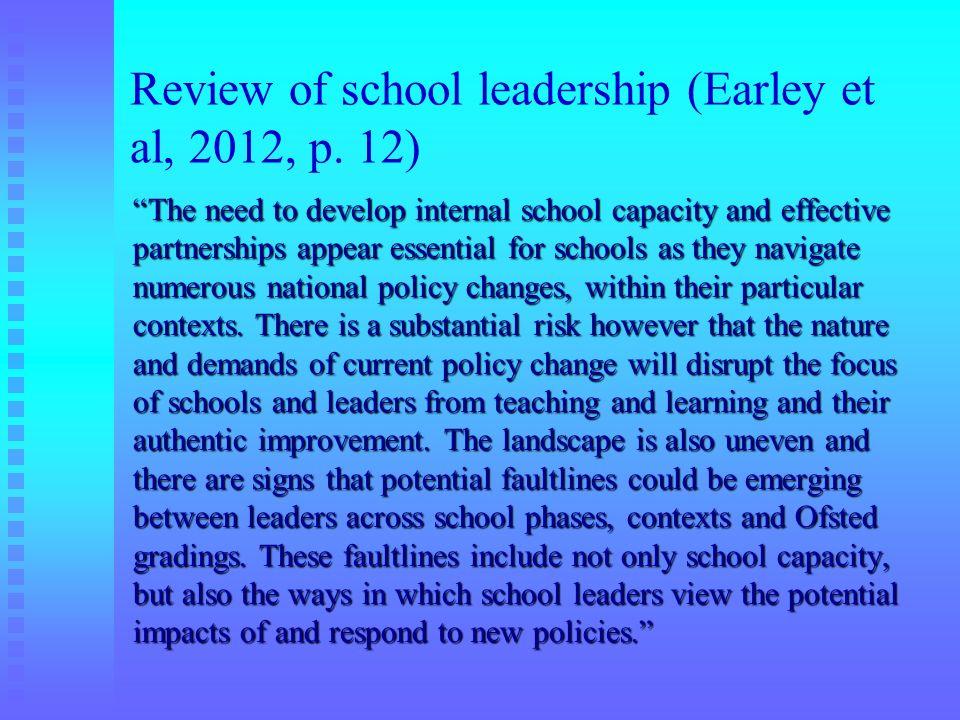 Review of school leadership (Earley et al, 2012, p. 12)