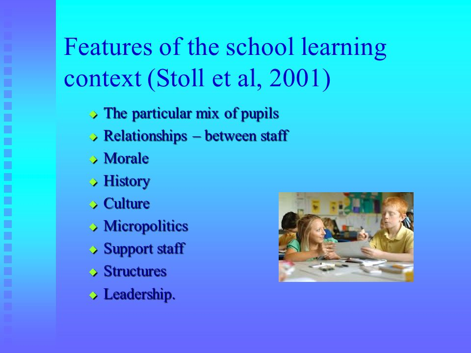 Features of the school learning context (Stoll et al, 2001)