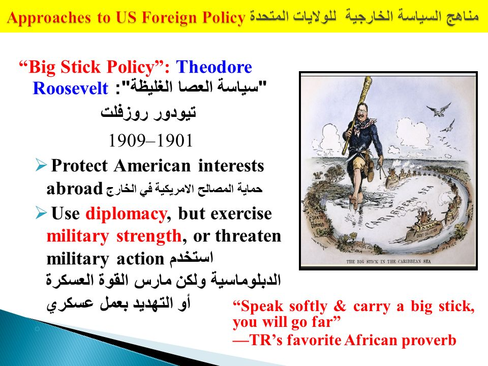 the big stick abroad Big stick abroad john milton cooper to get involved or not to get involved in global politics that was not a question that theodre roosevelt ever had global politics were at the forefront.