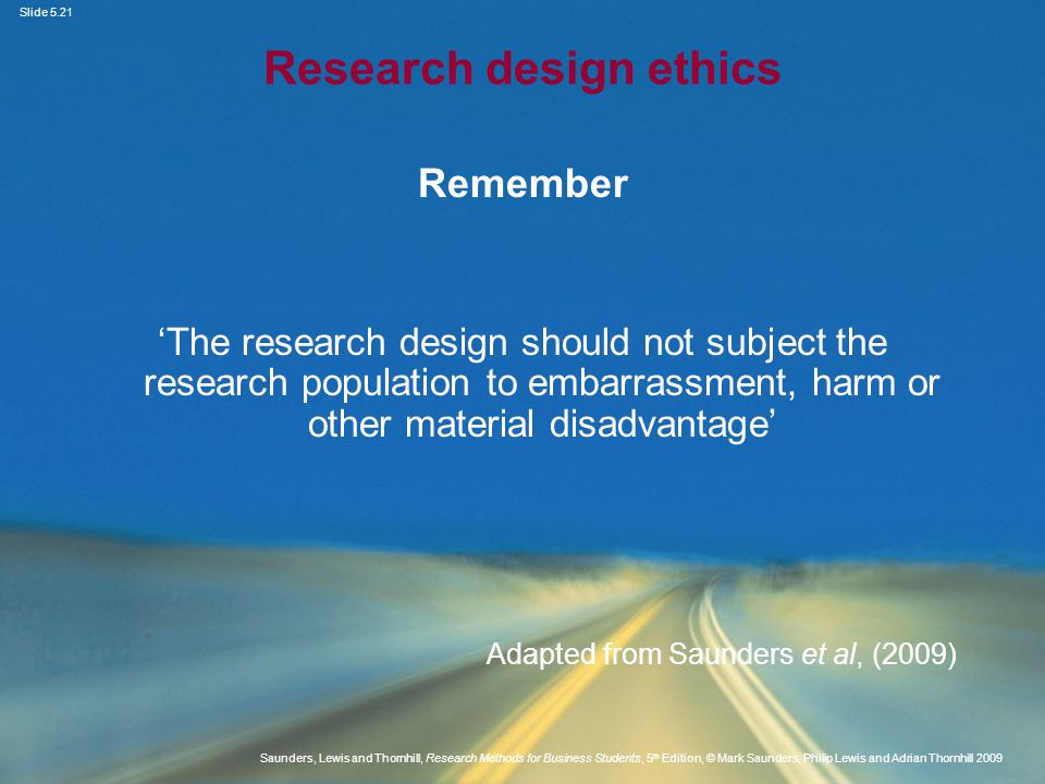 Research design ethics