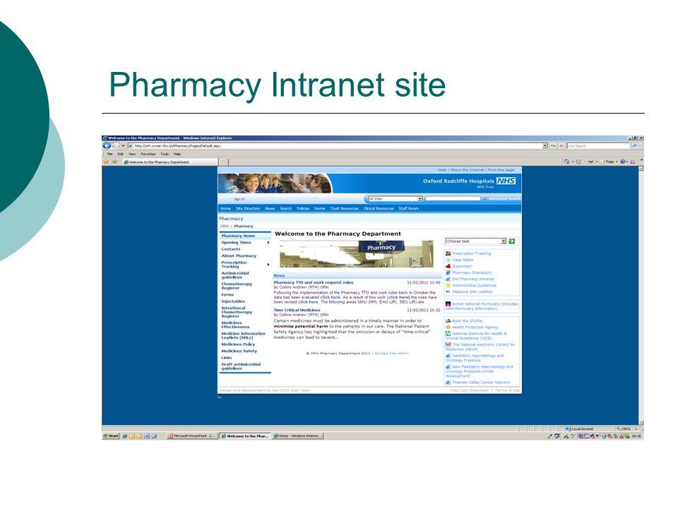 Pharmacy Intranet site