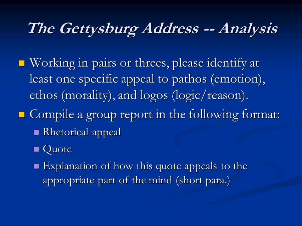 rhetorical analysis of the gettysburg address This feature is not available right now please try again later.