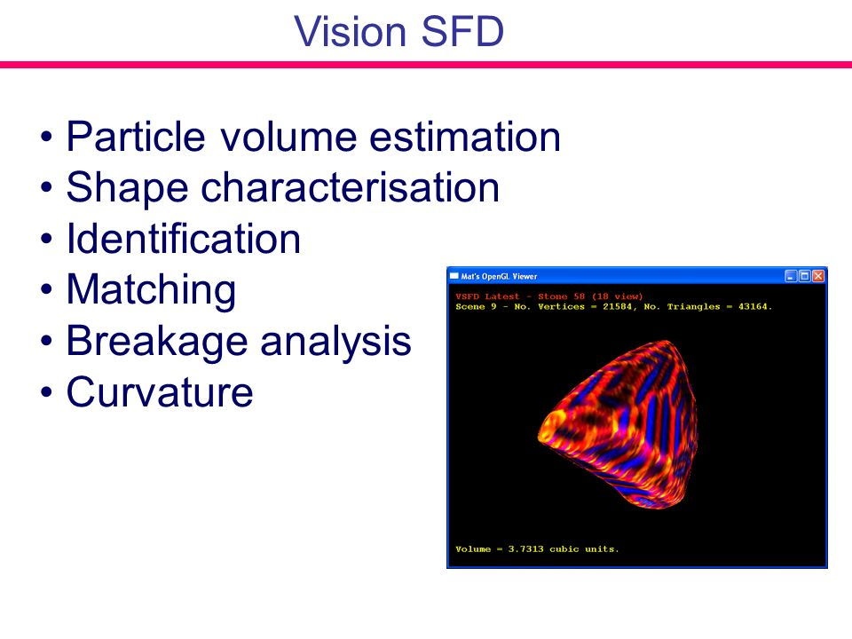 Vision SFD Particle volume estimation. Shape characterisation. Identification. Matching. Breakage analysis.