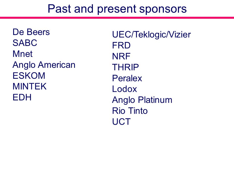 Past and present sponsors