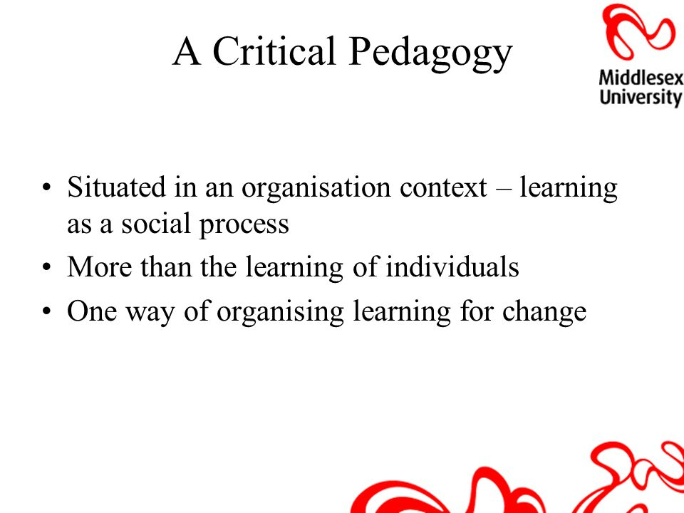 A Critical Pedagogy Situated in an organisation context – learning as a social process. More than the learning of individuals.