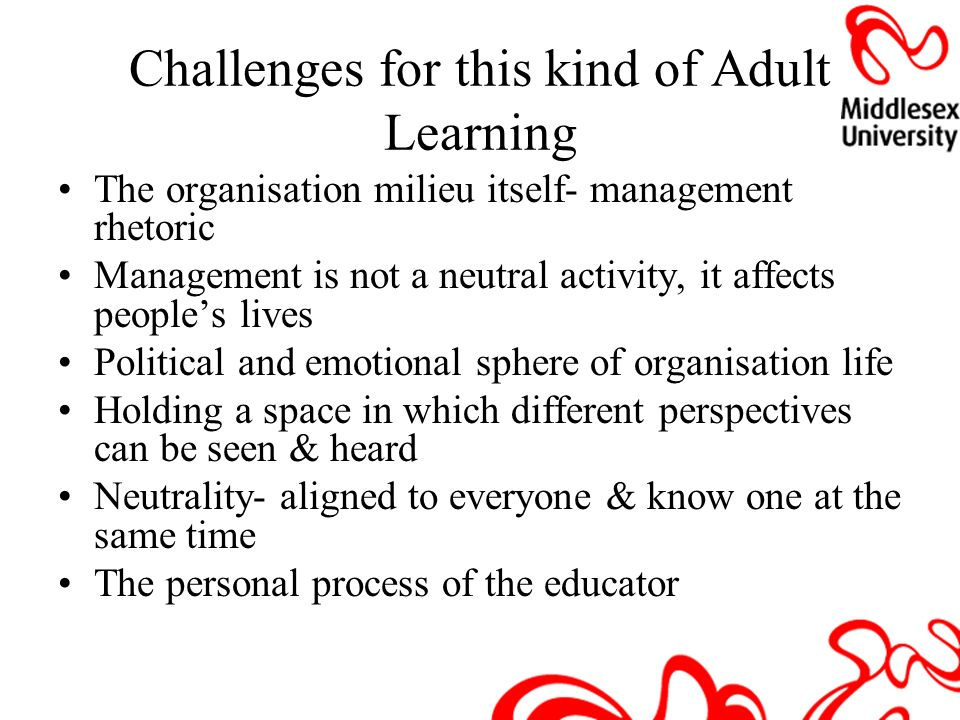 challenges facing the adult learner