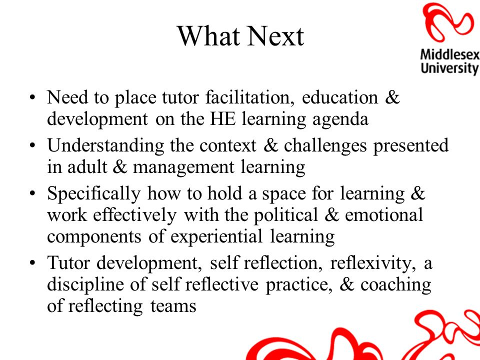 What Next Need to place tutor facilitation, education & development on the HE learning agenda.