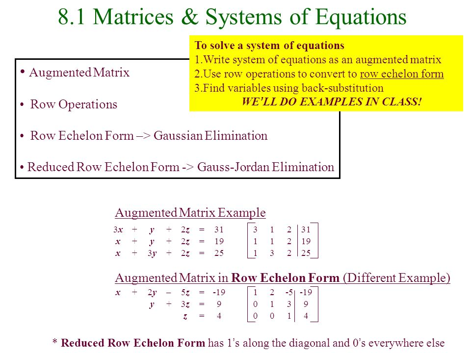 8.1 Matrices & Systems of Equations - ppt download