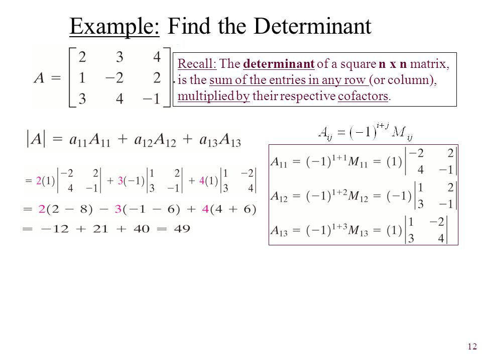 how to find trace and determinant