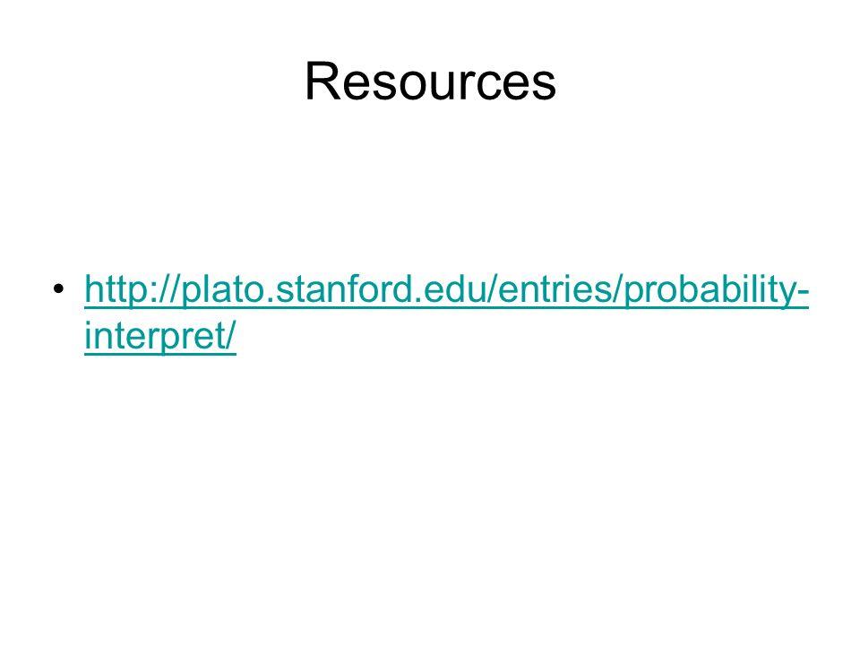 Resources http://plato.stanford.edu/entries/probability-interpret/