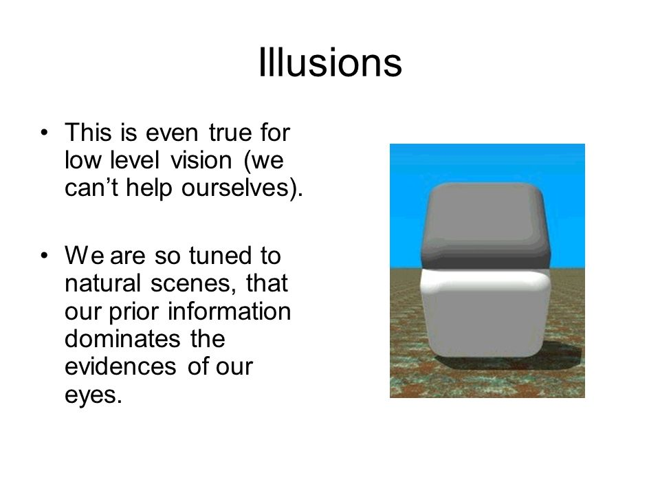 Illusions This is even true for low level vision (we can't help ourselves).