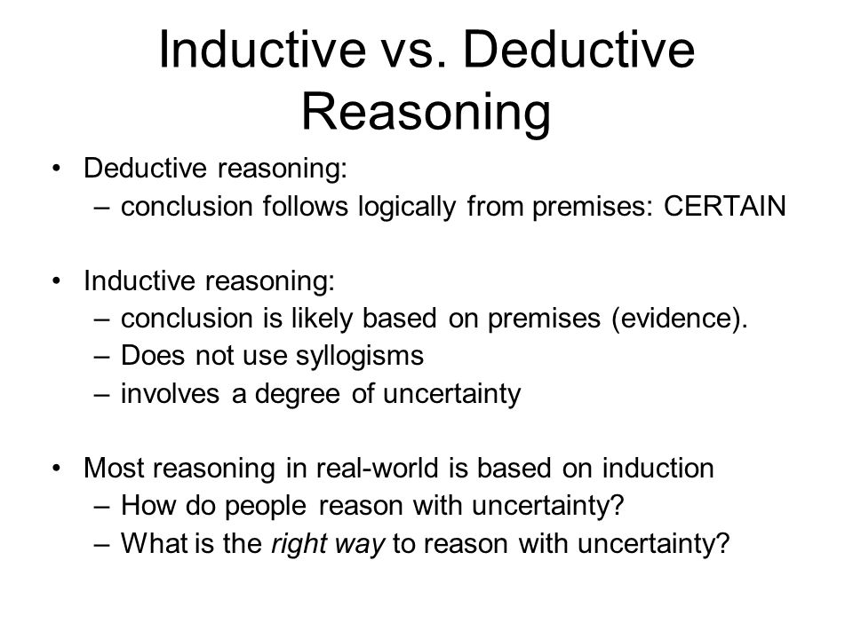 inductive vs deductive essays When writing a deductive essay, it is important to make sure that your reader's attention is not diverted from the thesis and outline of the essay the attention of the reader needs to be held by closely paying attention to the sentence structure, as well as the grammar within the essay.