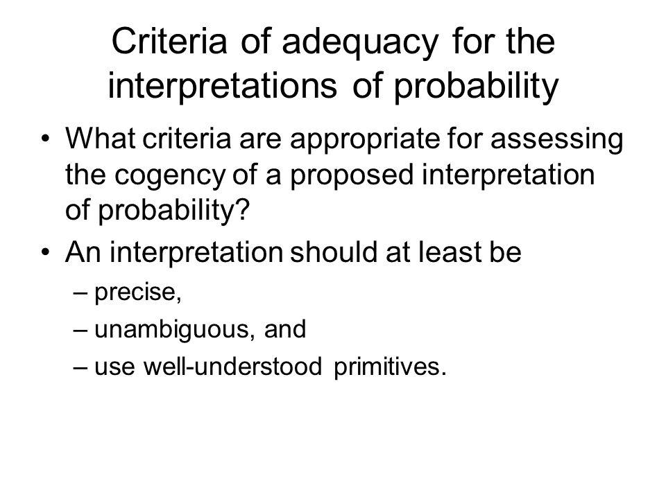 Criteria of adequacy for the interpretations of probability