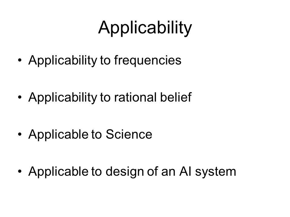 Applicability Applicability to frequencies