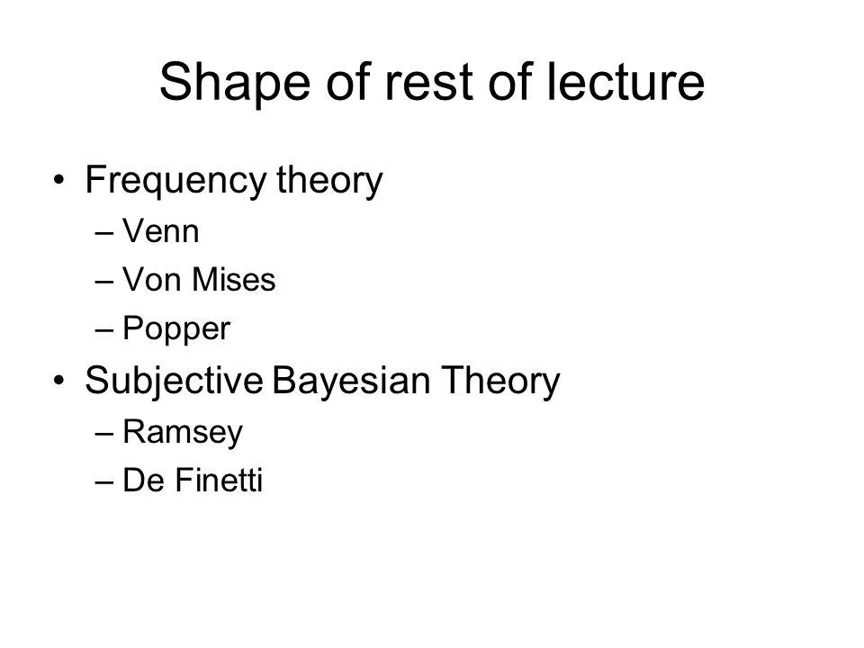 Shape of rest of lecture