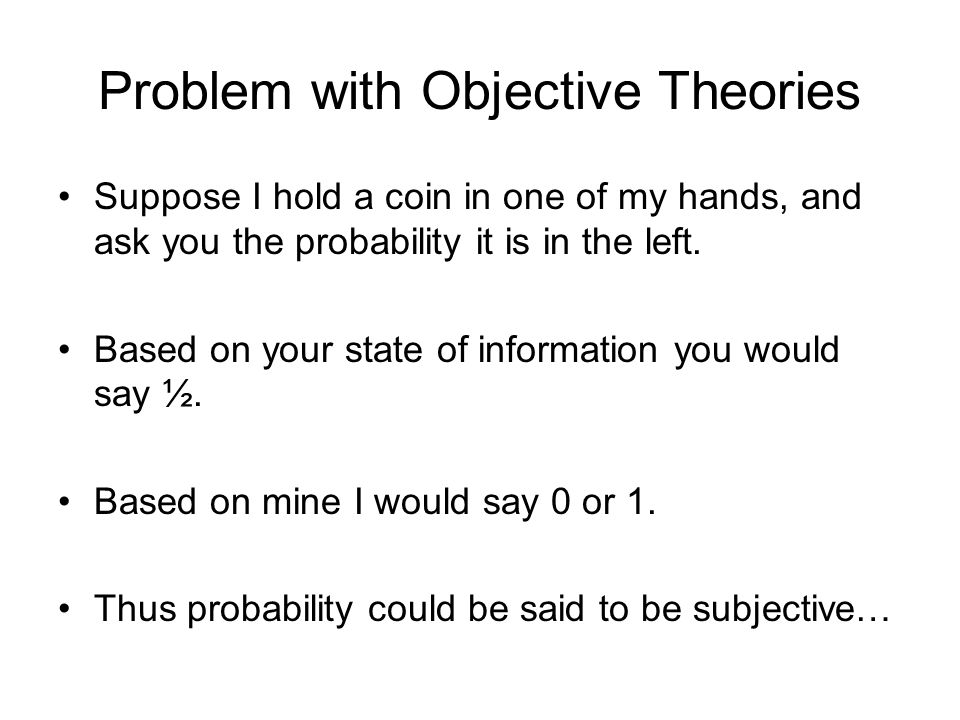 Problem with Objective Theories