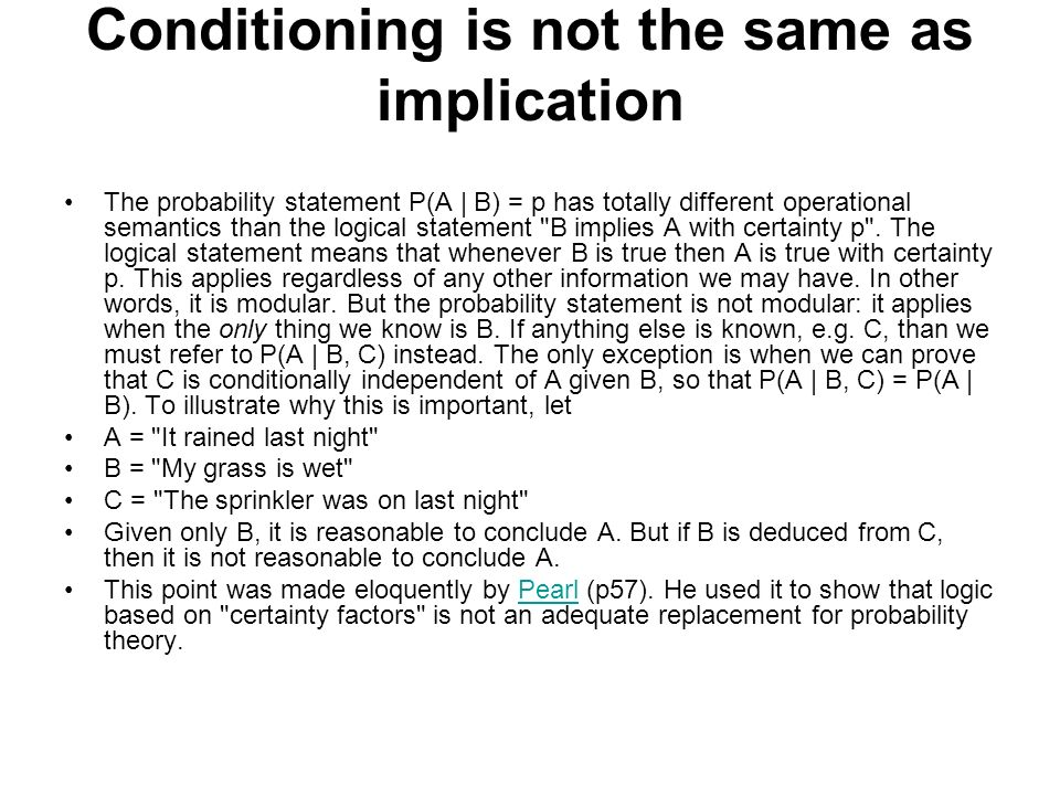 Conditioning is not the same as implication
