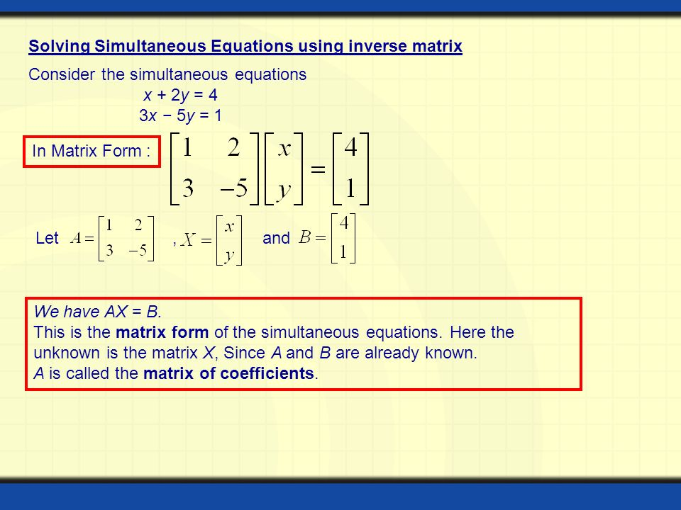 how to solve simultaneous equations using matrices