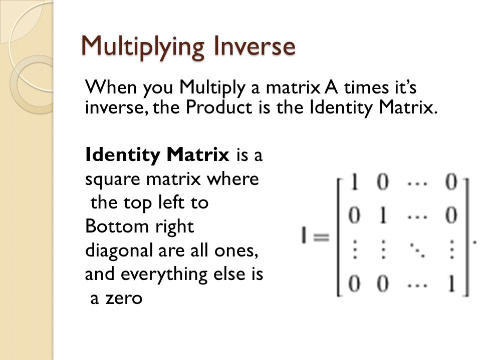 Multiplying Inverse