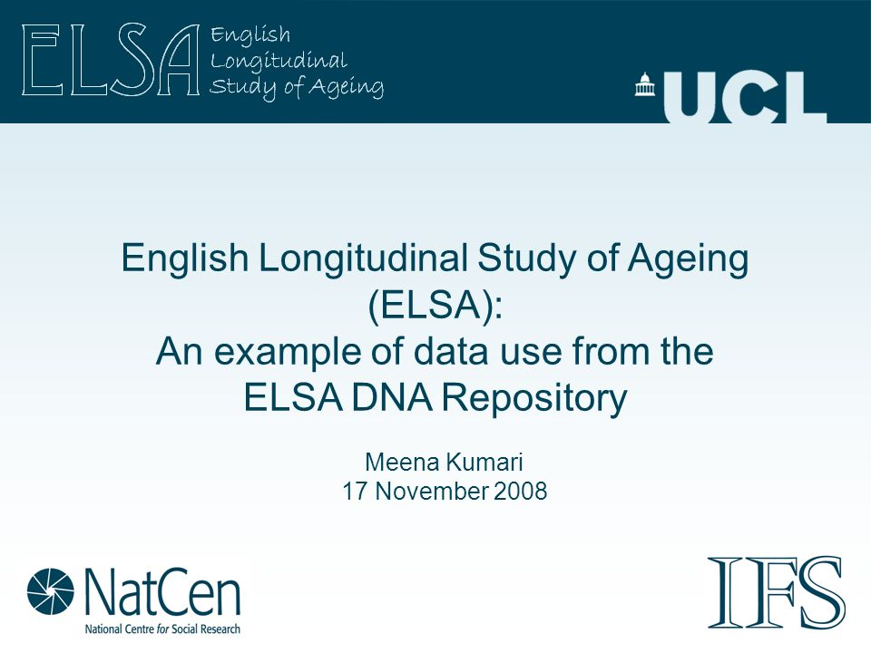English Longitudinal Study of Ageing (ELSA): An example of data use from the ELSA DNA Repository