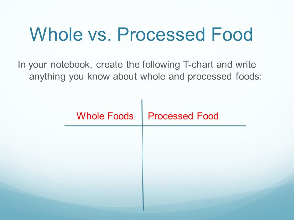 whole foods versus processed foods Nutrition whole vs processed foods discover how much is missing in your diet by understanding what makes whole food different from processed food.