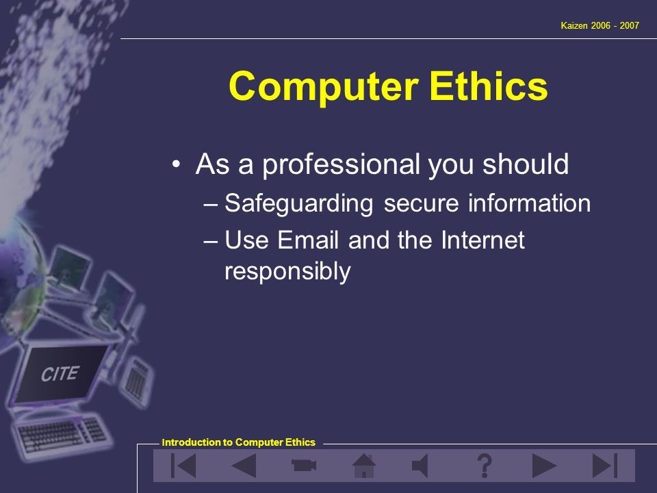 internet and computer ethics Ethical issues on computer technology  technology and the internet to have a positive influence in society  you can take a stand for electronic ethics.