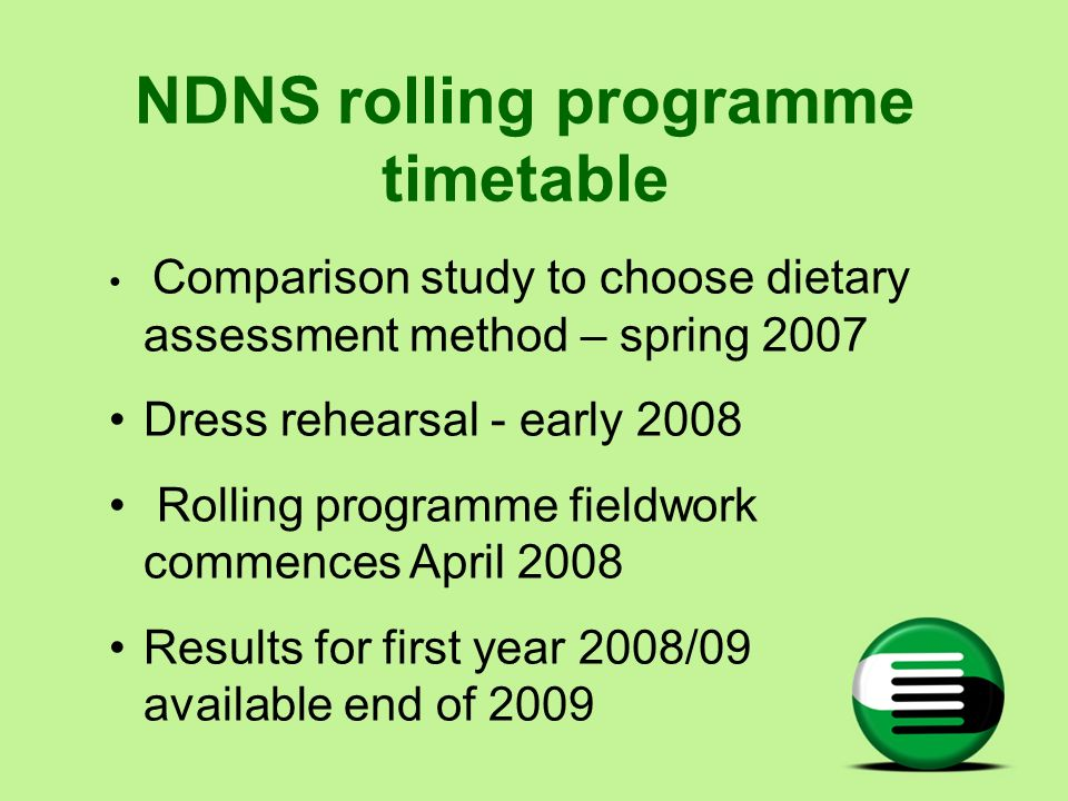 NDNS rolling programme timetable