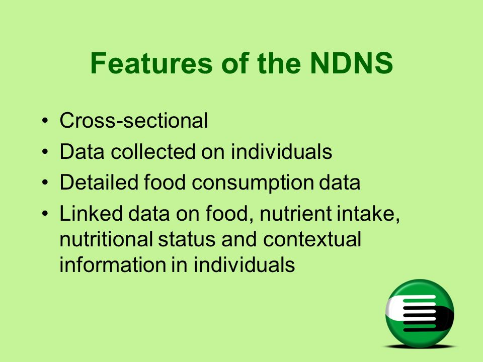 Features of the NDNS Cross-sectional Data collected on individuals