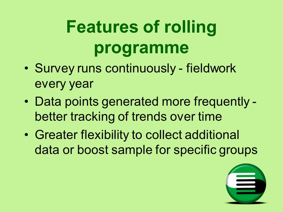 Features of rolling programme