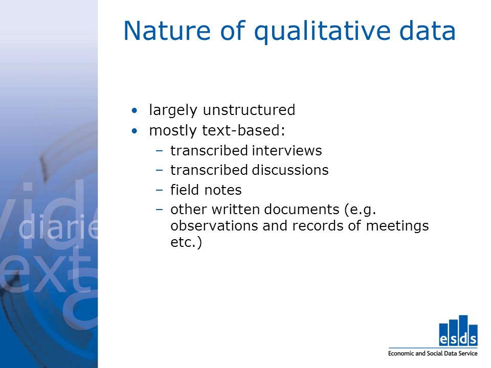 Nature of qualitative data