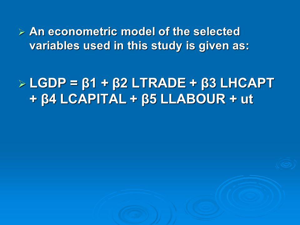 LGDP = β1 + β2 LTRADE + β3 LHCAPT + β4 LCAPITAL + β5 LLABOUR + ut