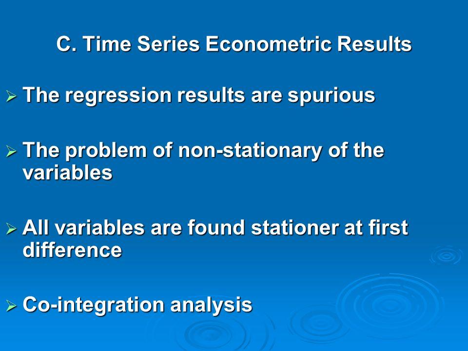 C. Time Series Econometric Results
