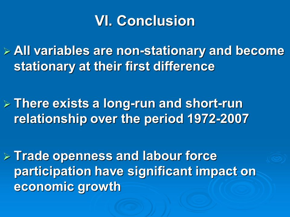 VI. Conclusion All variables are non-stationary and become stationary at their first difference.
