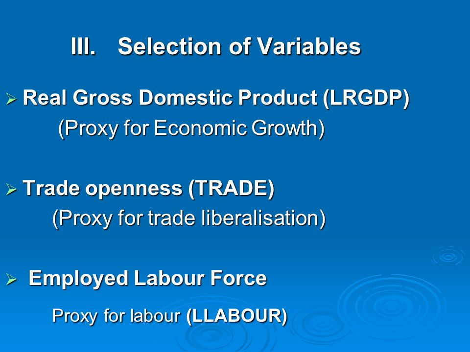 III. Selection of Variables