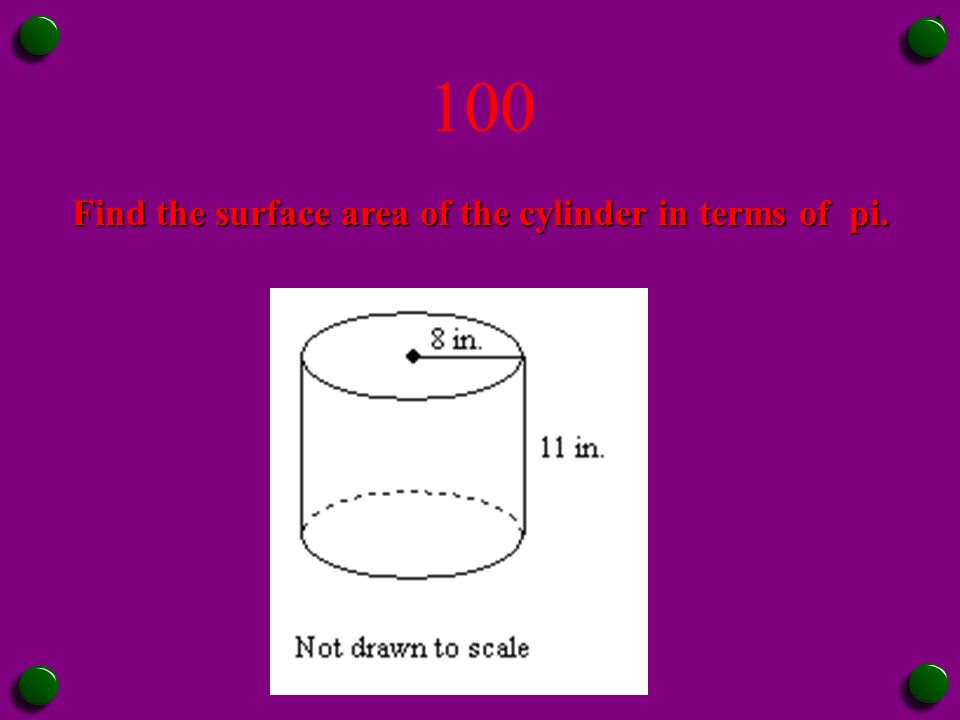 Jeopardy surface area ppt video online download find the surface area of the cylinder in terms of pi ccuart Gallery