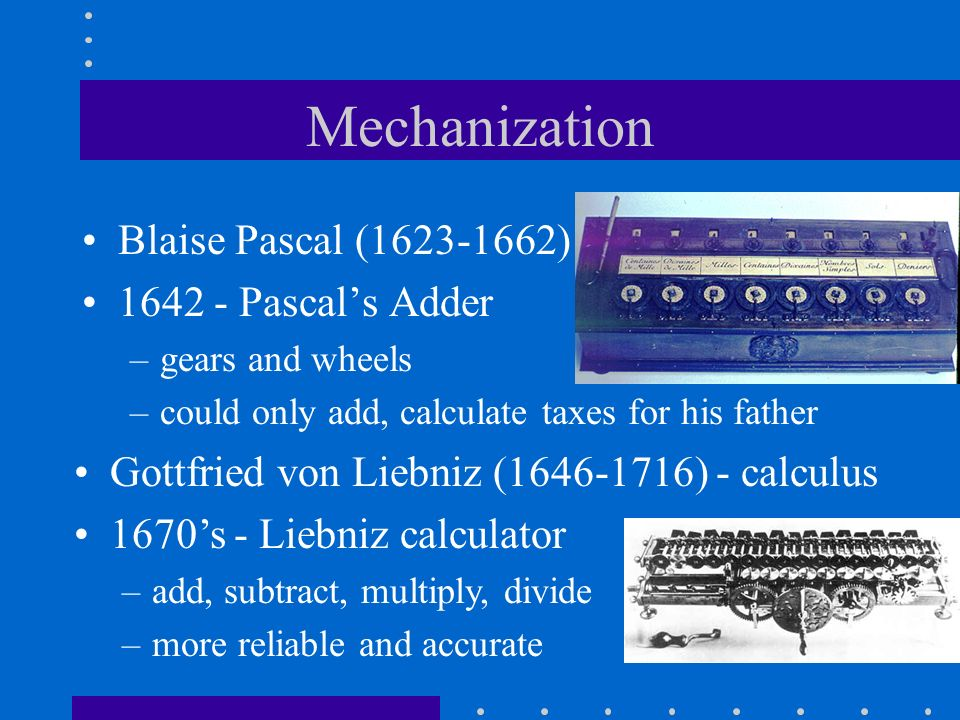 Mechanization Blaise Pascal (1623-1662) 1642 - Pascal's Adder