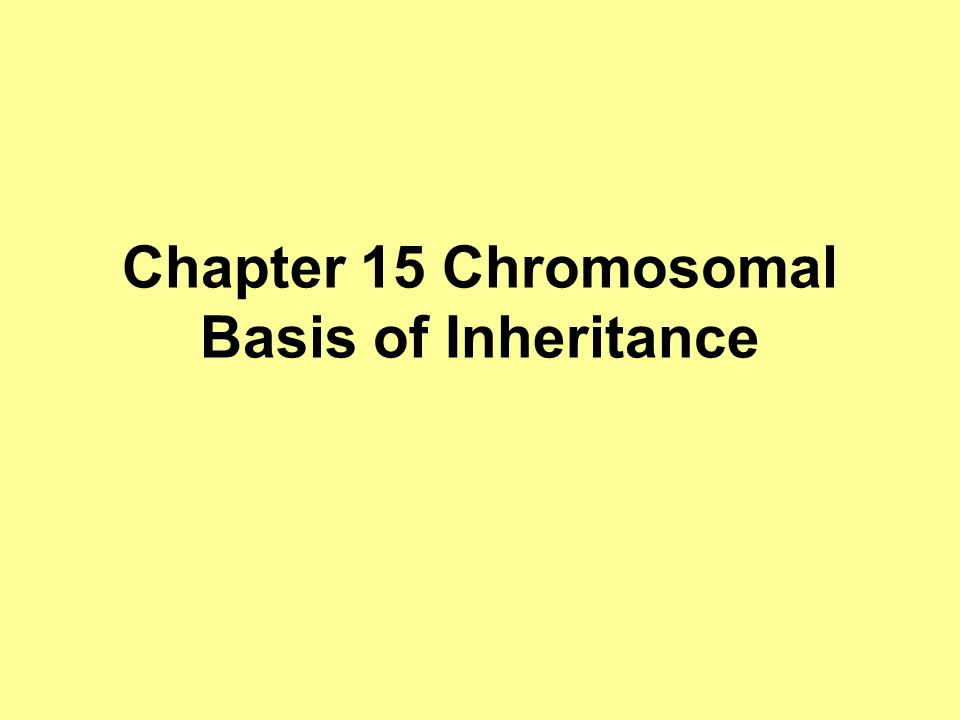 Chapter 15 Chromosomal Basis of Inheritance