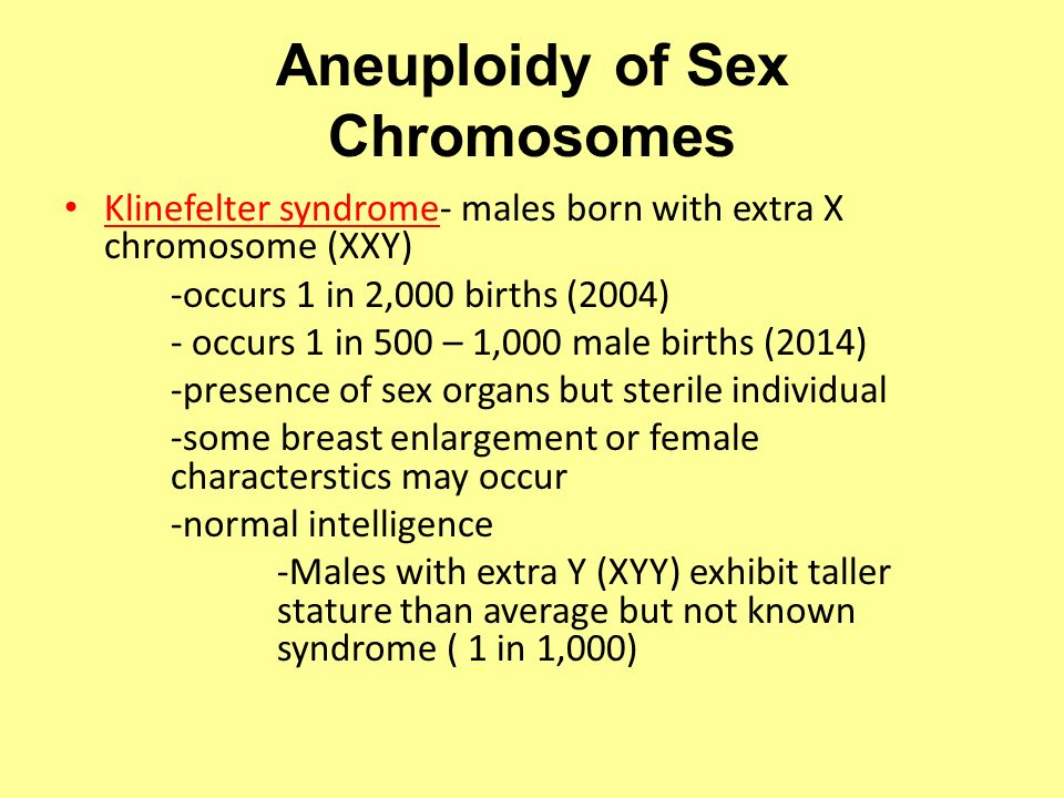 Aneuploidy of Sex Chromosomes