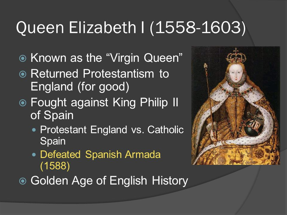 an introduction to the history of queen elizabeth the first the virgin queen The acting is absolutely first rate  elizabeth, as the virgin queen with her face heavily laced with the 'white-as-milke  the introduction with its scenes,.