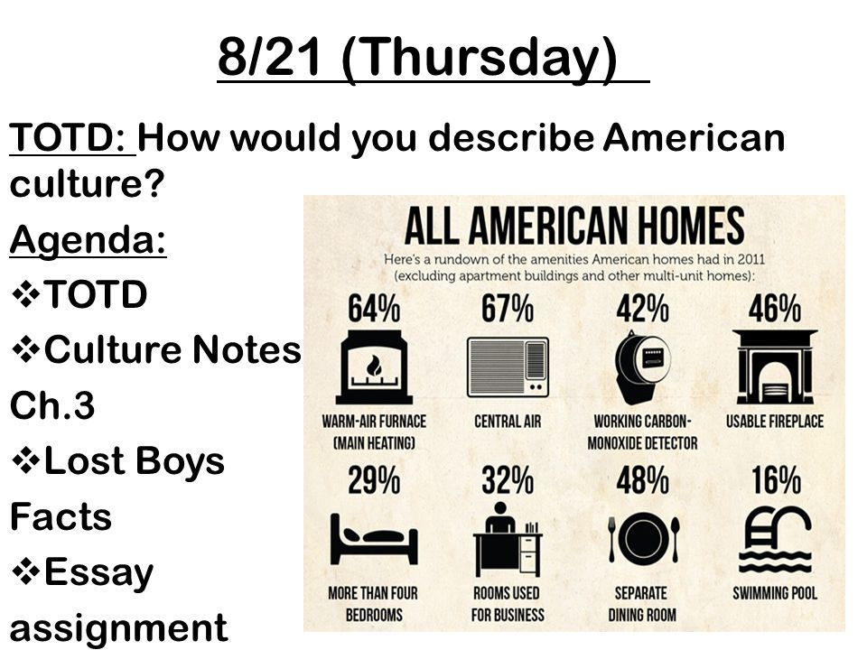 821 thursday totd how would you describe american culture agenda