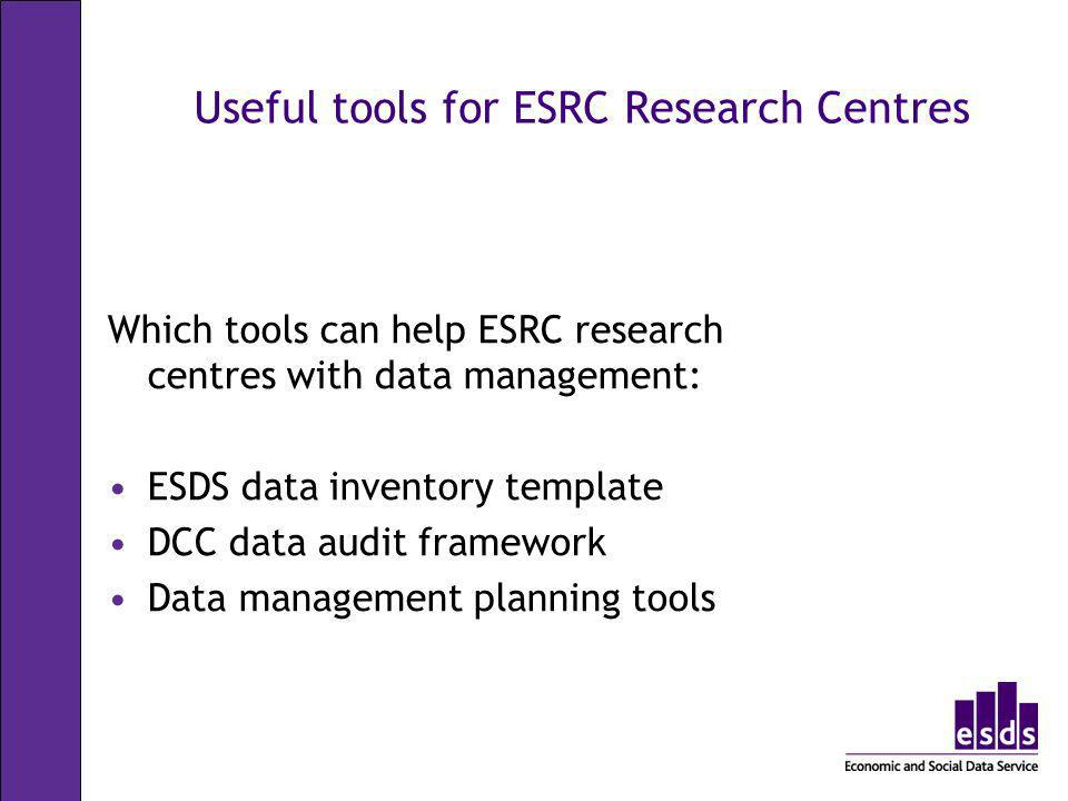 Useful tools for ESRC Research Centres