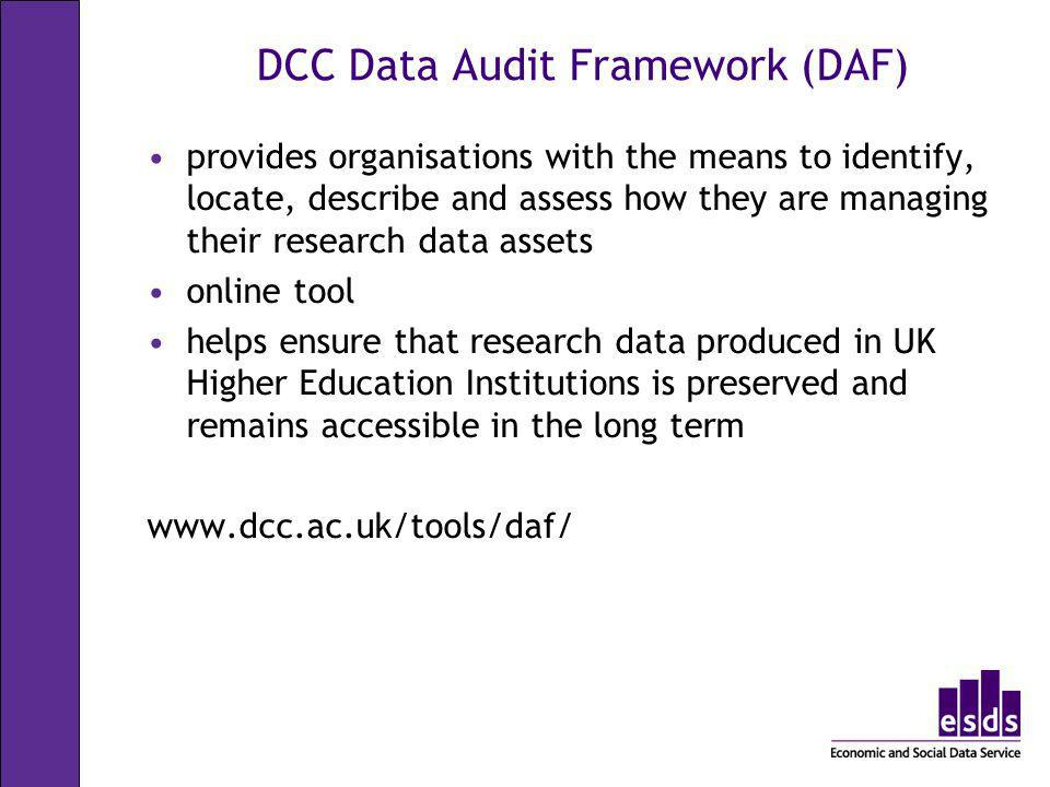 DCC Data Audit Framework (DAF)