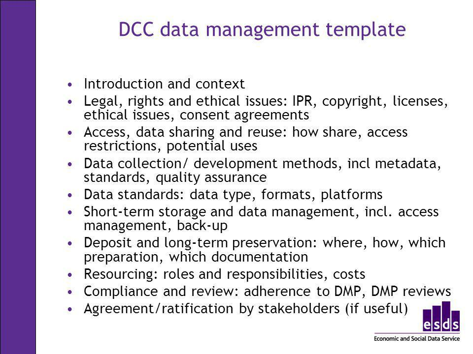 DCC data management template