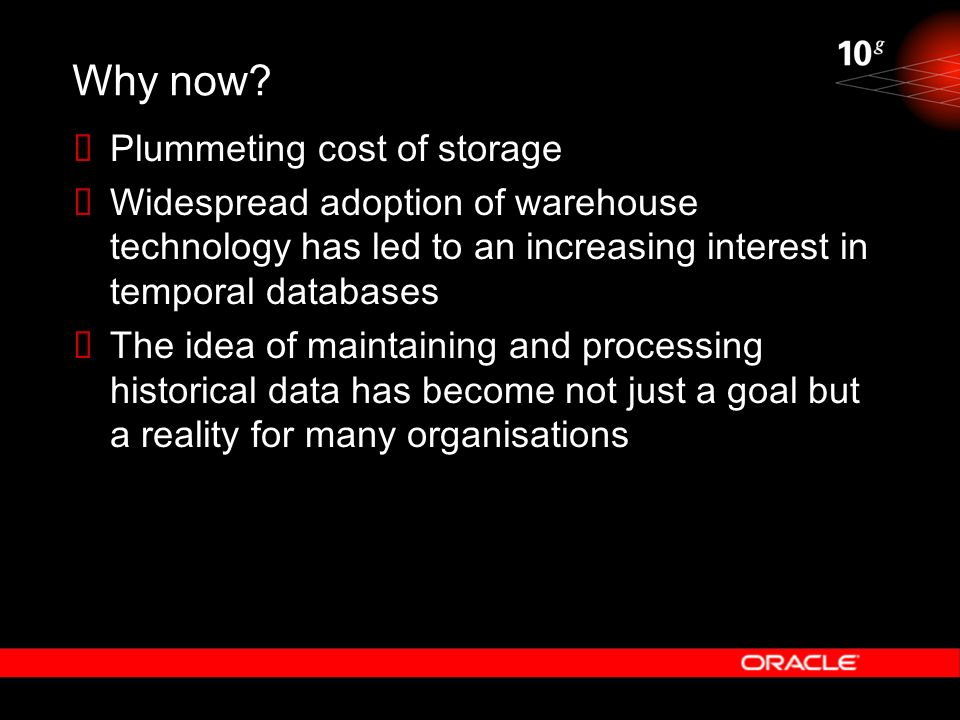 Why now Plummeting cost of storage