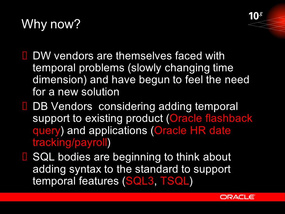 Why now DW vendors are themselves faced with temporal problems (slowly changing time dimension) and have begun to feel the need for a new solution.