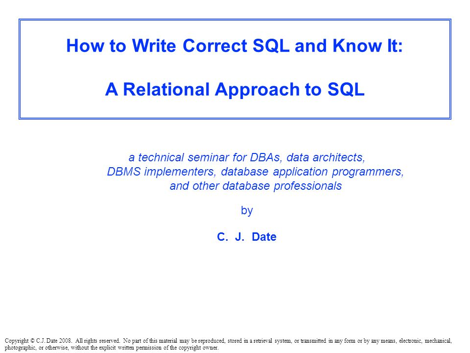 THESIS : 1. You're an SQL professional