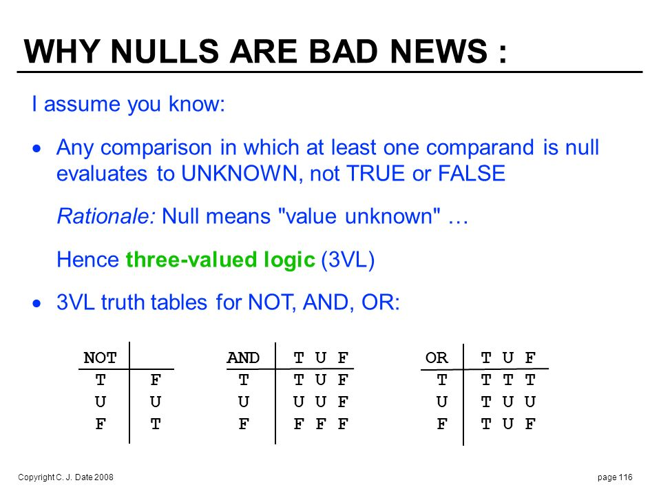 NULLS (cont.) : Nothing at all in CITY slot for part P1 !!!