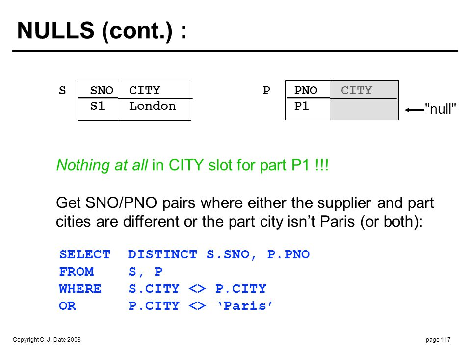 NULLS (cont.) : Boolean expression in the WHERE clause: